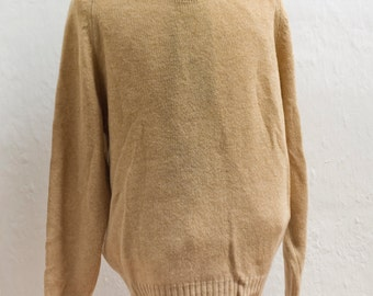 Men's Sweater / Vintage Oatmeal Shetland Wool Knit / Size XL