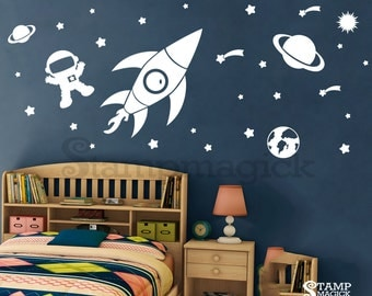 Outer Space Wall Decal for Baby Boy Nursery - Rocket Planet Stars Vinyl Wall Decor - children's room bedroom - K150