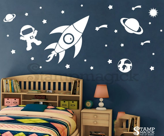 outer space wall decal rocket vinyl wall decor space wall decal planets astronaut boy galaxy