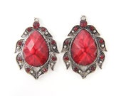 Red Faceted Stone Earring Findings, Red Faux Marcasite Antique Silver Teardrop Pendant Rhinestone Chandelier Jewelry Component |R5-15|2