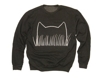 Unisex Cat Ears Sweatshirt / plus size top : crazy cat lady, dark gray, hand screened printed, gift for her, womens clothes, cat grass