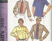 70s Mens Dress Shirt & Knit Sport Shirt... McCALLS 3439 Vintage Sewing Pattern... Chest 38 Neck 15