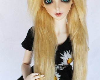"SD Doll  BJD feeple 60 8.5"" sized Light Blonde long in front fake fur wig by MonstroDesigns"