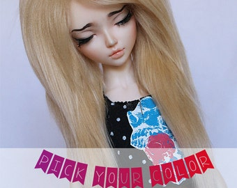 "MSD wig Doll  BJD 7"" long in front Pick Your Color fake fur wig MonstroDesigns"
