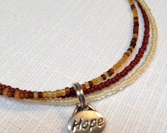 Multi-strand Beaded Anklet in Brown and Neutral with Sentiment Charm - You Pick