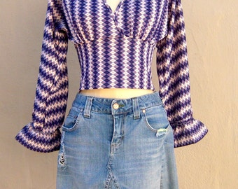 60s GO-GO top / blue argyle ruffled scooter blouse / mod hippie unique OOAK,  womens x small