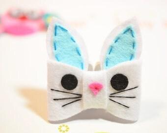 New! Set of 6pcs handmade felt bunny bows--white/blue (FT1034)