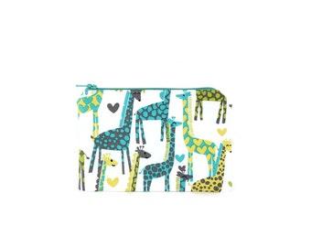 Teal Giraffe Pouch / Giraffe Zipper Bag / Iphone Clutch in Michael Miller Giraffes