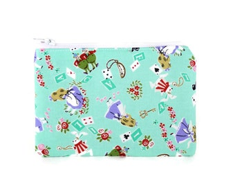 CHOOSE SIZE Alice in Wonderland on Teal Cute Makeup Bag / Camera Bag / Zipper Pouch