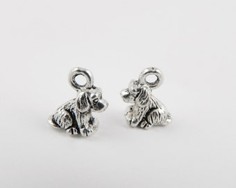 20 Dog Charms - 10mm x 9mm - Antiqued Silver - 3D - Double Sided - Tiny