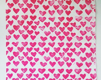 hot pink hearts. block print cloth napkins. set of four / hand printed / placemats