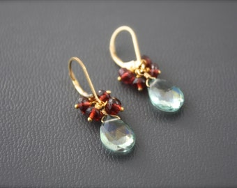 Green Topaz and Garnet Simple Earrings- Choice of Gold Filled or Sterling Silver by Yania Creations
