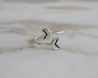 Navy and Silver Double Chevron Ring // Geometric Enameled Adjustable Ring with Arrow Motif // Choose Your Accent Color