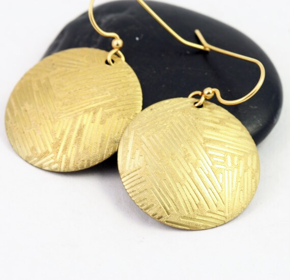 Gold Disc Earring - Bold Circle Drops