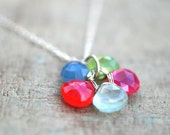 Multi Color Chalcedony Gemstone Flower Pendant Sterling Silver Handmade Necklace