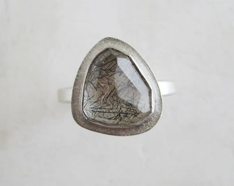 Tourmalinated Quartz Ring | Rosecut quartz ring | READY TO SHIP size 7.5 | Large bezel set recycled silver stacking ring