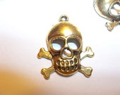 Gold Pirate Skull Charms Pendants Jolly Roger Findings For Jewelry Supplies 11 Pieces 22mm