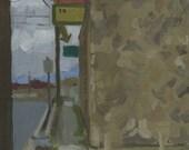Kim's Bar Entrance: Original Oil Painting Urban Plein Air Landscape