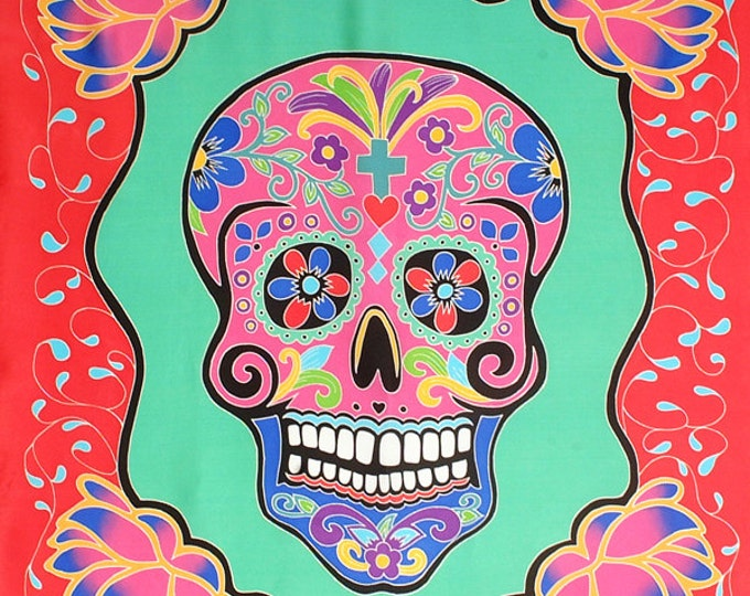 Silk scarf handpainted, Day of the Dead Scarf, Skull scarf,  Hand made Batik Silk Scarf, Square scarf, Dia de los metros scarf, Unique scarf