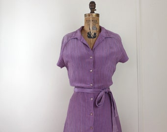 1970s button up day dress - mauve, dusty purple, rose plum + pinstripes, shirtwaist, belted - vintage size 9/10, medium