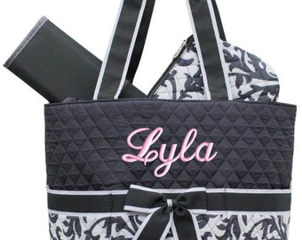 Personalized Diaper Bag Grey Damask Quilted Monogrammed Gray Baby Tote