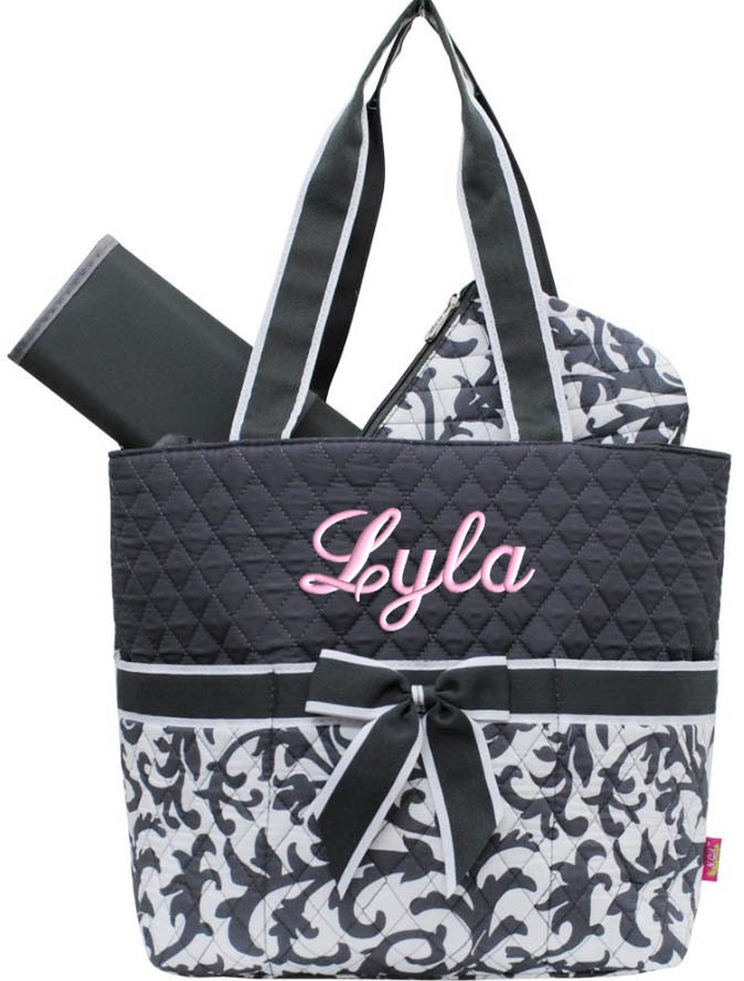 personalized diaper bag grey damask quilted monogrammed gray. Black Bedroom Furniture Sets. Home Design Ideas