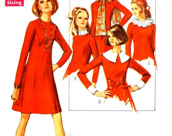 Dress with Interesting Detachable Collars Bust 34 12 MP Simplicity 8391