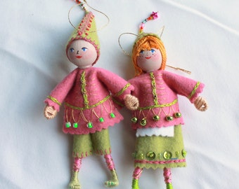 Felt Art Doll Hanging Ornament, Elf Piksee in Pink and Green