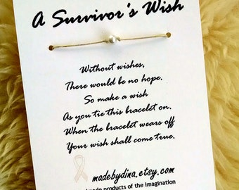A Survivor's Wish. The Wish Bracelet for Lung Cancer Awareness. White Pearl Ribbon Edition.