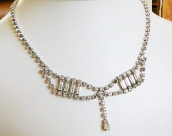 Vintage .. Necklace, Rhinestone, Clear, Statement, Bridal, Vintage Bride Retro Wedding