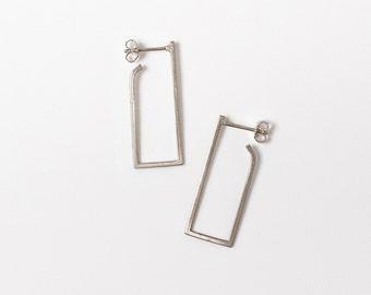 Rectangle Hoop Earrings, Sterling Silver Earrings, Geometric Silver Earrings, Minimalist Silver Earrings