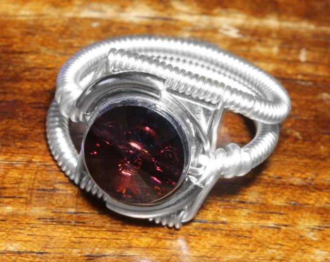 Steampunk Jewelry - Ring - Burgundy Svarovski Crystal
