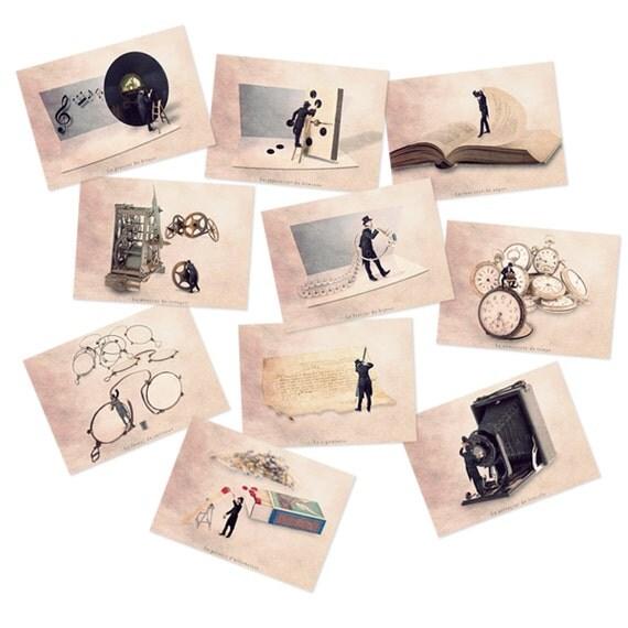 French Postcard set, Postcard set, Postcard collection, postcards, photographydream, Fun cards, Art postcards, steampunk decor,steampunk art