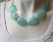 Aqua Blue Statement Necklace / Sky Blue Big Chunky Necklace / Gold Chain Faux Stone Beads / Big Bold Necklace for Women