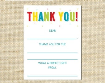 Rainbow Fill In Thank You Cards  - 10 kids blank note cards