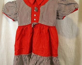 Vintage Toni Togs Toddler Red Plaid Taffeta Dress
