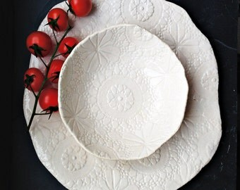 ON SALE! Serving platter & bowl set Unique cream white handmade stoneware ceramic tableware Lace texture Dinnerware Decorative pottery