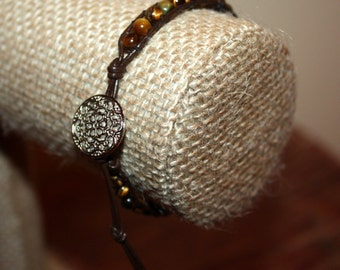 Brown 'CAT'S-EYE' Leather & Bead Wrap Bracelet - Brown Leather/ 4 mm Glass Beads