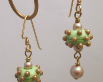 Handmade Lampwork Bead Earrings with Platinum Swarovski Pearl Dangles