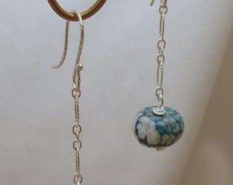 Teal Agate Dangle Earrings on Sterling Silver Chain