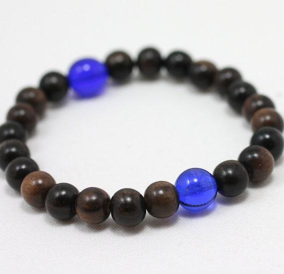 Large Ebonywood Wrist Mala Bracelet - 21 Bead Mala Plus Blue Cobalt Guru Bead - 7 Inch Large Wrist Mala Beads