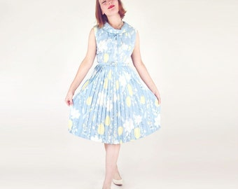 60s Light Blue Flower Print Dress with Bow and Pleated Skirt M
