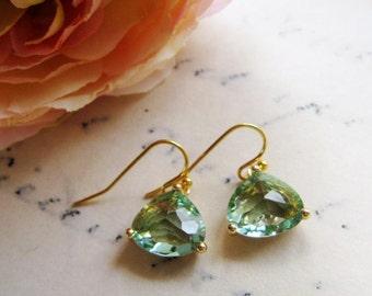 Blue Green Crystal Earrings, Petite, Triangle earrings, Dainty Bridesmaid Earrings.