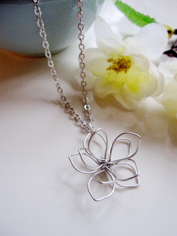Silver Flower Necklace, Silver Flower Charm, Flower Blossom, Minimalist, Wedding Necklace, Bridal Jewelry