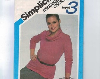 1980s Vintage Sewing Pattern Simplicity 5262 Misses Easy Stretch Knit Cowled Blouse Shirt Top Size 10 Bust 32 1/2 1981 80s UNCUT