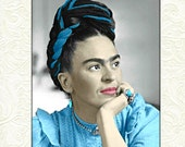 Frida Kahlo Instant Digital Download Art Print Digital Painting Mixed Media Collage Aqua Blue Grey Black White Oil Acrylic Small to Poster