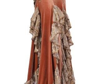 Skirt, YOUR SIZE, Golden Crushed Velvet, Tribal Fusion Bellydance