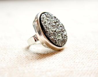 Galaxy Glam Large Grey Druzy Round Ring