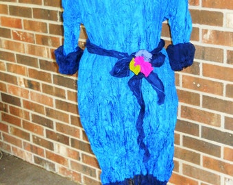 Cobalt Blue Silk Midi Dress