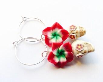 Sugar Skull Earrings Plumeria and Flower Eyes